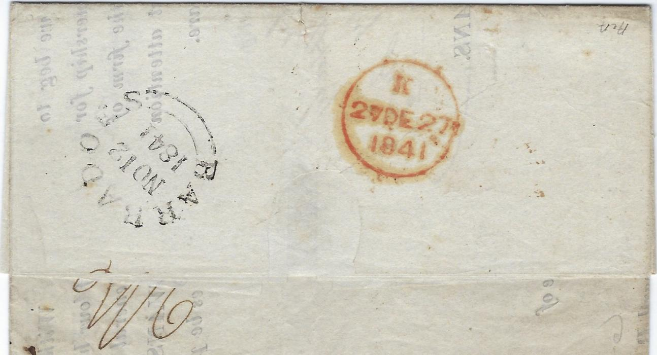 "Barbados 1841 part printed entire to Madeira, annotated ""care of C.G.Houghton Esq, London"", struck on the reverse  with the large double arc Barbadoes cds and London arrival, front bearing a manuscript ""1/6"" rate and the reverse a ""2/6"" rate for the forwarding to Madeira which had to be prepaid."