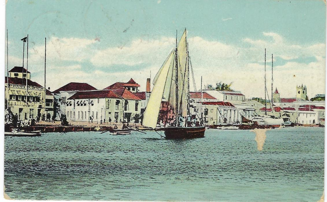 Barbados 1910 picture postcard of quayside to Germany sent registered and bearing single franking 6d. tied cds, arrival cds to eft of this and registration label at left.
