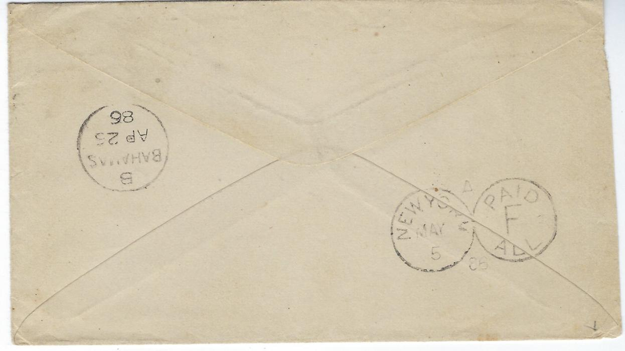 Bahamas 1886 cover to Pikesville, Maryland, USA bearing single franking 4d. deep yellow tied by �B� obliterator, reverse with B/Bahamas cds and New York �opera glasses� transit.