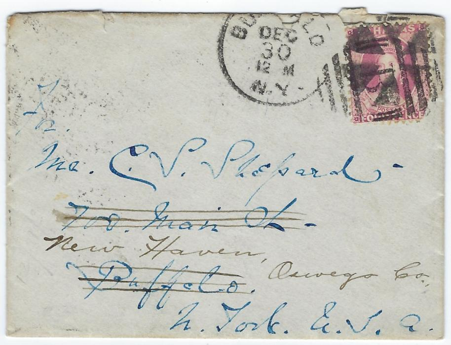 Bahamas 1883 cover to Buffalo, NY, redirected to New Haven bearing single-franking Watermark Crown CA, perf 12 4d. tied by �B� obliterator, this being oversturck by Buffalo cork duplex, reverse with A/Bahamas cds, New York transit, Buffalo transit and arrival cds. The stamp has rounded bottom right corner and envelope a little roughly opened on reverse. Including the letter written on Dec 23rd from Royal Victoria Hotel.