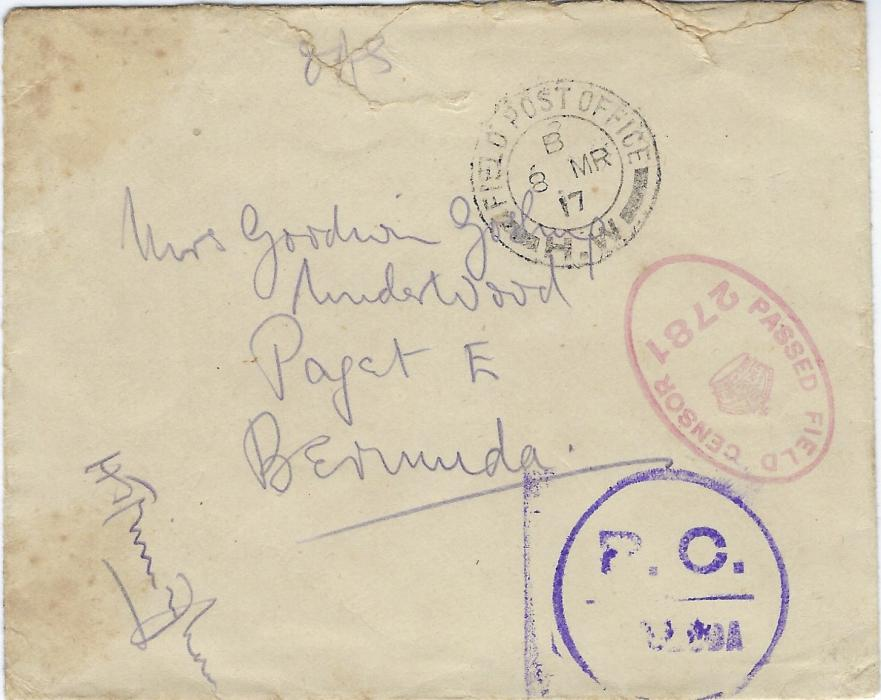 "Bermuda  Volunteer Contingent in France 1917 (Mar) envelope endorsed at top ""OAS"" to Paget East cancelled Field Post Office H.W. (located Arras area) with red British Field censor 2781 and violet P.C. Bermuda handstamp; a little roughly opened at top."