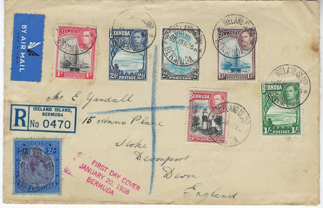 Bermuda 1938 (20 Jan) registered airmail first day cover to England bearing seven values to 2/- tied Ireland Island cds, without backstamps.