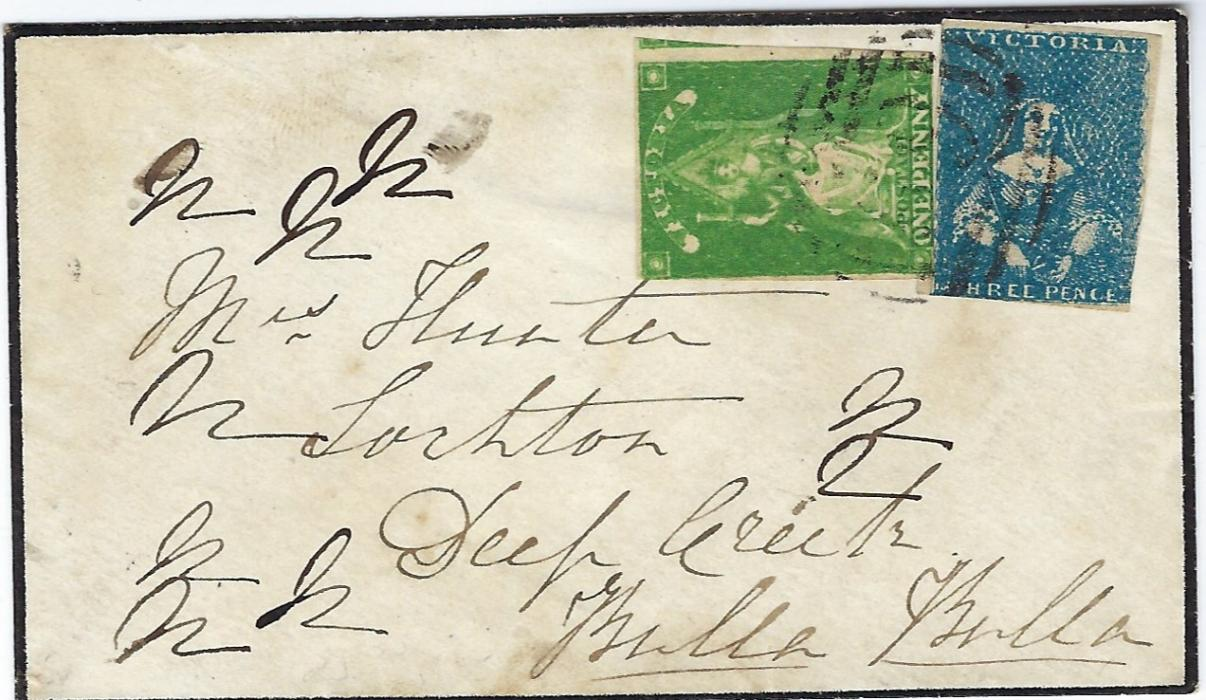 Australia Victoria: 1857 internal mourning cover bearing mixed franking of �Half Length� 3d (two touched margins) and 1856 1d yellow-green �Queen on Throne� (two touched margins). Envelope written across on reverse, despite these issues still an attractive item.