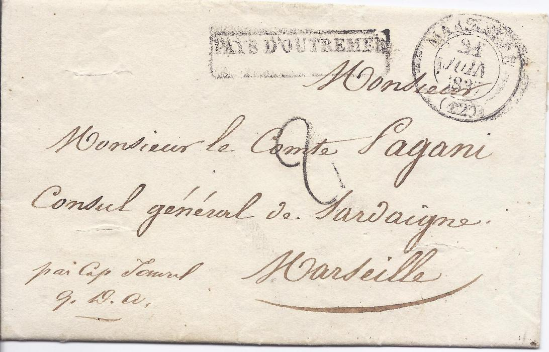 1837 France 1837 entire from Cairo, Egypt to Marseille bearing maritime PAYS DOUTREMER handstamp and arrival cds, reverse with two-line PURIFIE LAZARET/Marseille handstamp and further cds, cover with four horizontal slits.
