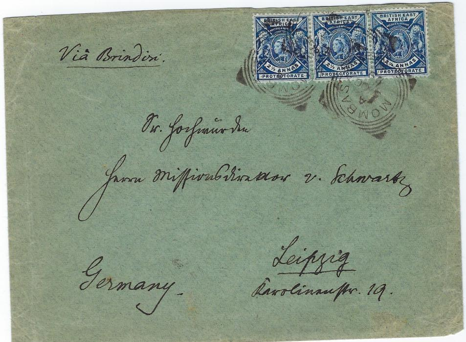 British East Africa 1899 (5 OC)  missionary cover to Leipzig, Germany franked with single and pair of  2�a. tied by Mombasa square circles, reverse with further dispatch, Aden transit and arrival cds.