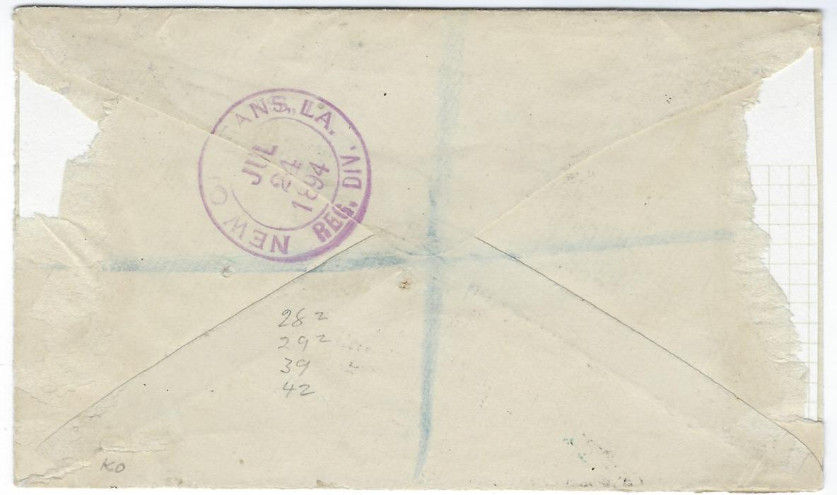 British Honduras 1894 (JY 20) registered cover to USA at correct 18c. rate made up with mixed issues 1888-91 �2 CENTS� on 1d and �3 CENTS� on 3d pairs together with 1891 2c. and 5c., tied by K65 obliterators with Belize cds at base, reverse with New Orleans transit; small parts of reverse missing from mounting.