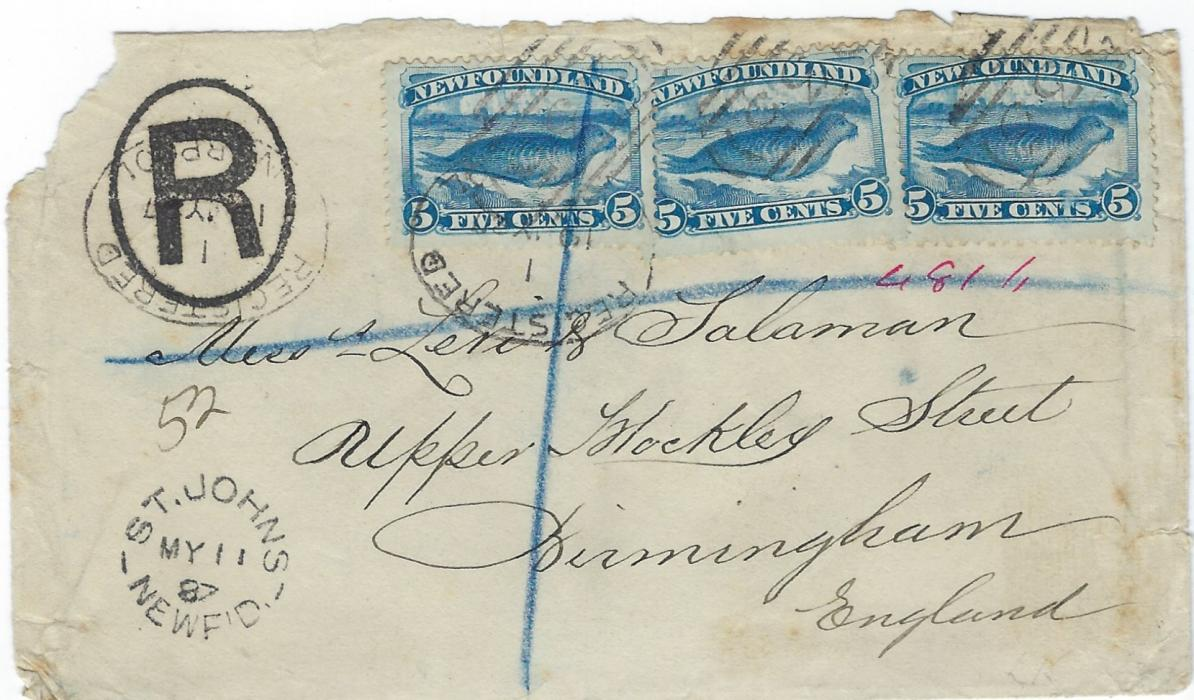 Newfoundland 1887 (MY 11) registered  cover to Birmingham franked three single  5c �Common Seal� tied by �235� obliterators with St Johns cds bottom left, two Liverpool transits; backflap missing.