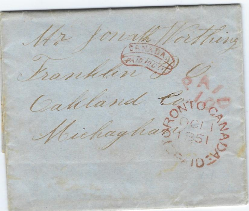 Canada 1851 (OCT 1) entire to Franklin, Oakland Co., Michighan bearing Toronto Canada Paid date stamp together with cursive framed CANADA/ PAID 10Cts as well as American PAID 10 cursive handstamp; good quality strikes on small neat entire.