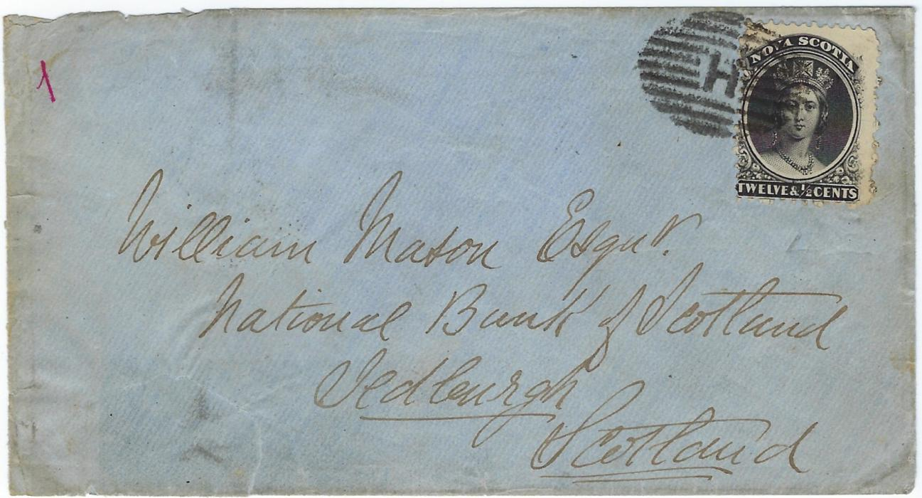 Canada Nova Scotia: post 1860  cover to Jedburgh, Scotland bearing single franking 12�c. black tied �H� obliterator  of Halifax, transit and arrival backstamps affected by missing part of backflap.