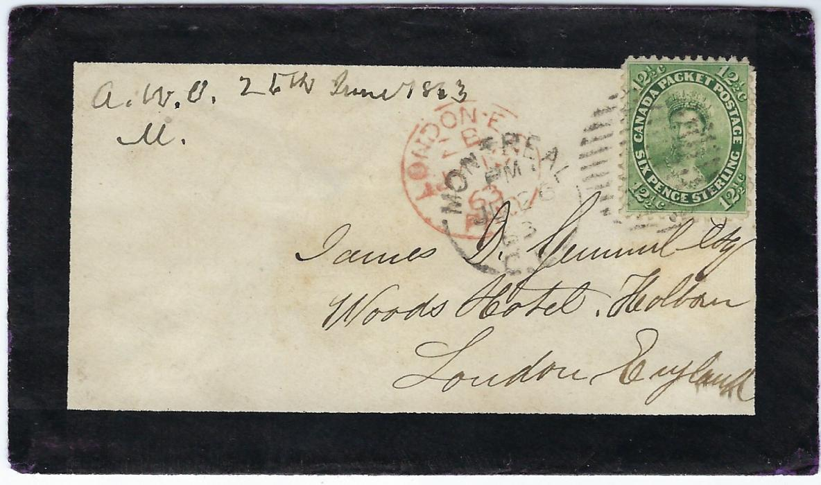 Canada 1863 mourning cover to London franked perforated 12�c. tied Montreal duplex partly overstruck by red London arrival; wax seal cut out from back, attractive appearance.