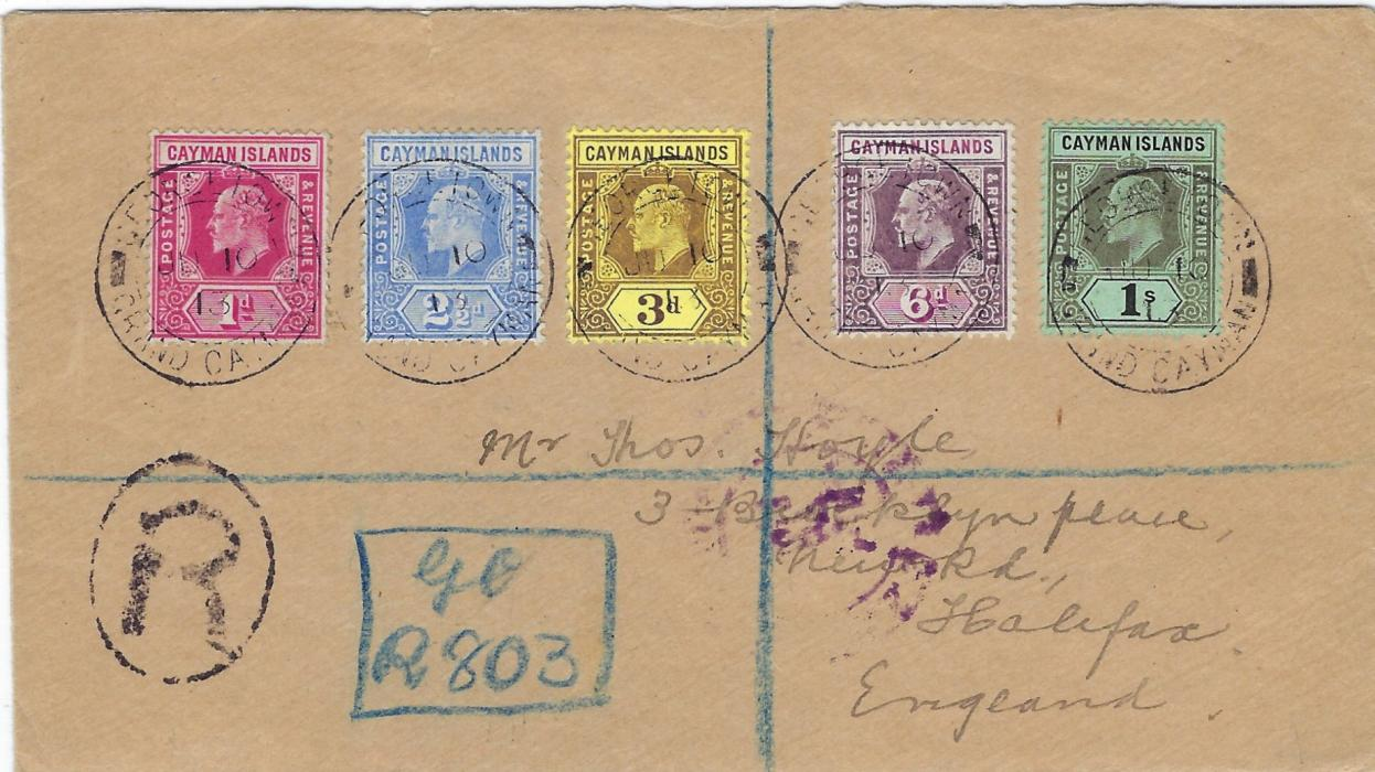 Cayman Islands 1913 (JU 10) registered cover to England franked by five values from 1907-09 series each cancelled Georgetown Grand Cayman cds, blue manuscript registration, reverse with Jamaica transit and violet U.S. Sea Post cds.