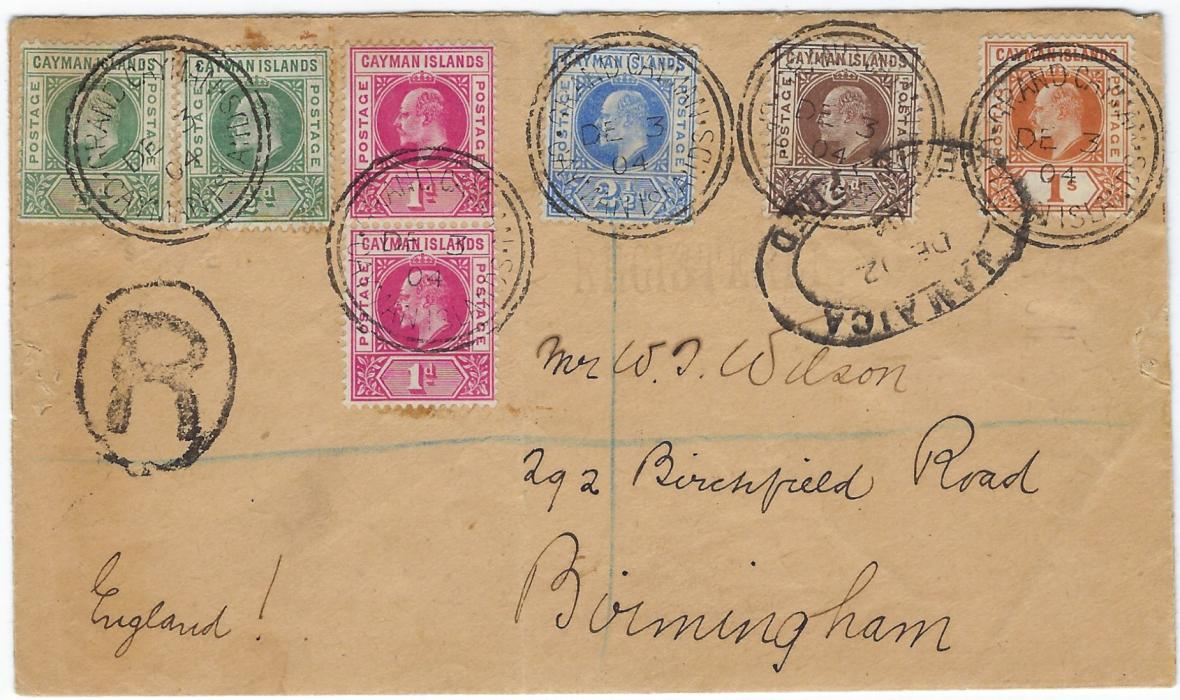 Cayman Islands 1904 (DE 3) registered cover to England franked by 1902-03 set of five plus extra �d. and 1d. tied Grand Cayman cds, Jamaica transit at right and arrival backstamp; opened out envelope, a couple of slight tones.