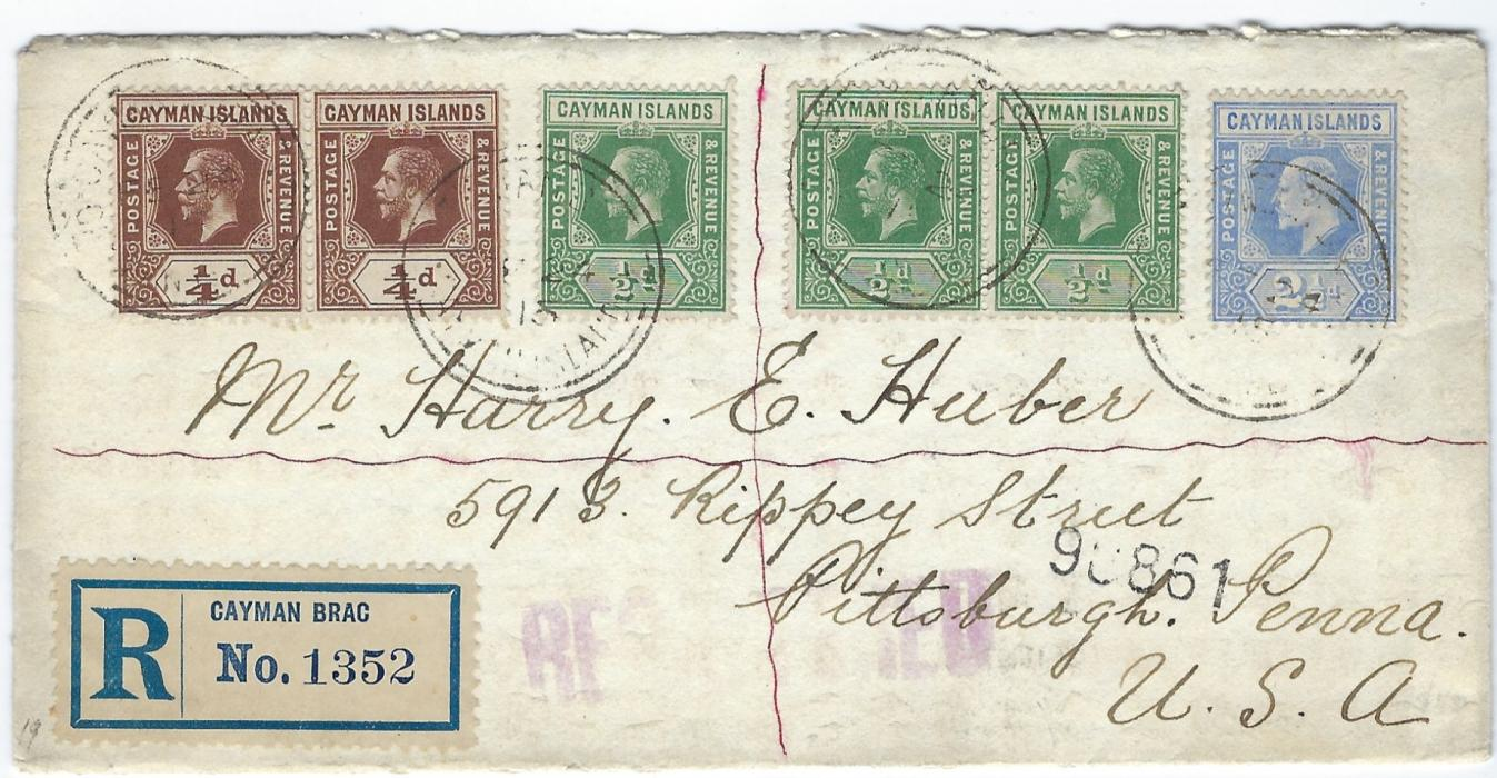 Cayman Islands 1915 registered cover to Pittsburg correctly franked at 4�d. rate with mixed reigns 1907-09 2�d. together with 1912-20 �d. pair and �d. pair and single, tied Cayman Brac cds.