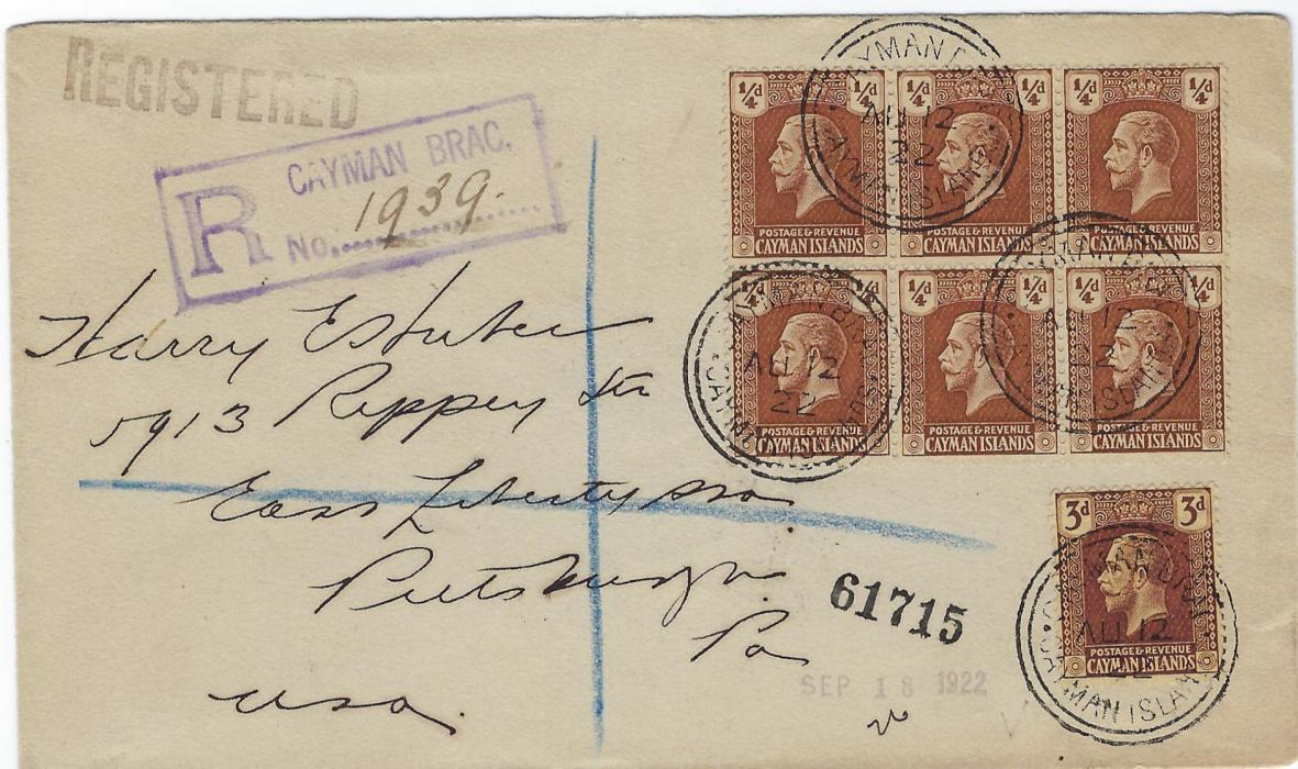 Cayman Islands 1922 (AU 12)  registered cover to Pittsburg correctly franked at 4�d. rate with Wmk Mult Crown CA 3d. and Wmk Mult Script CA �d. block of six tied Cayman Brac cds; fine condition.