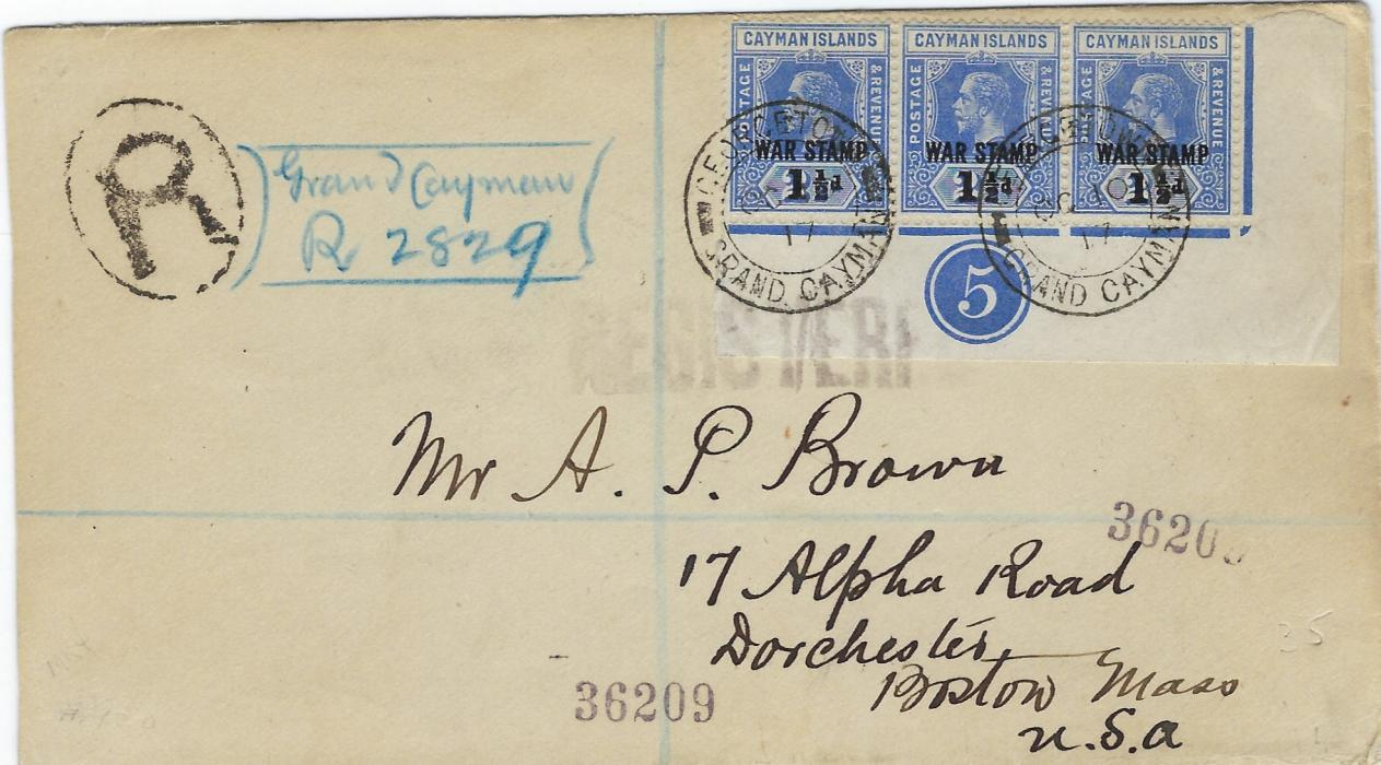 Cayman Islands 1917 (OC 10) registered cover to Boston, franked corner plate marginal strip of three WAR STAMP 1�d. on 2�d. with Georgetown Grand Cayman cds, reverse with Jamaica and New York transits; fine and attractive.
