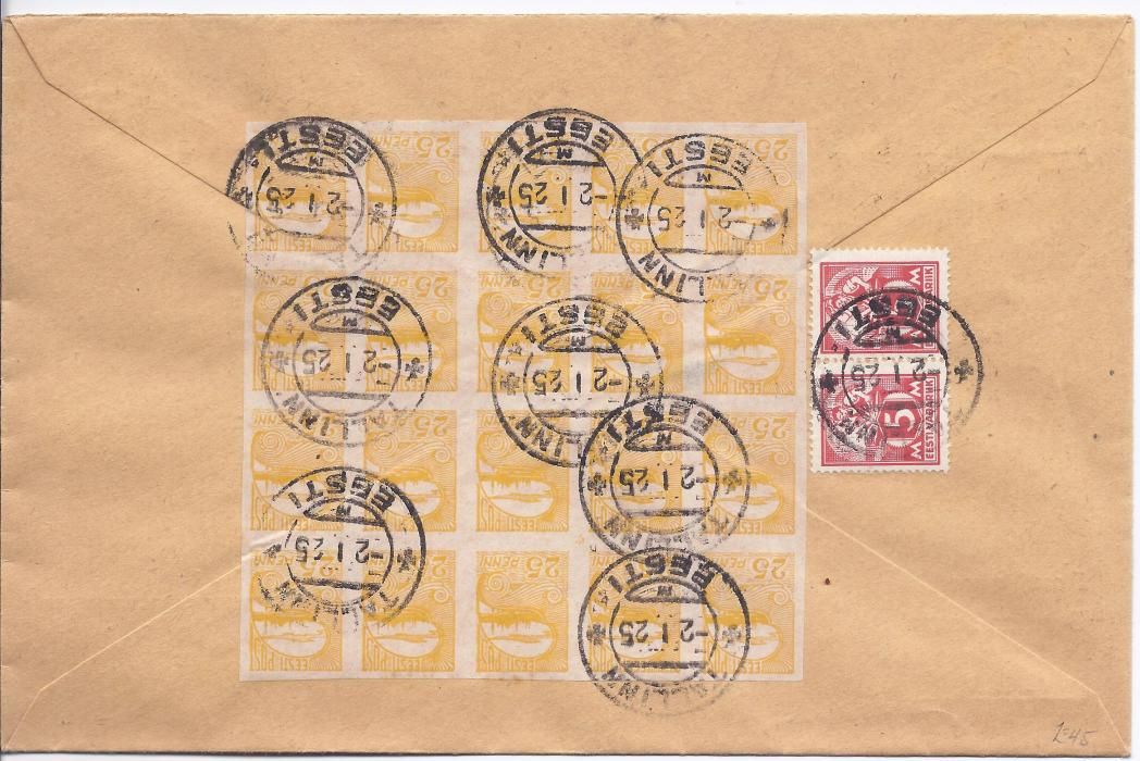 1925 Estonia 1925 (2.1.) Post Office cover to Switzerland franked on reverse 5m. pair and 25p. imperf block of 20, tied Tallinn cds; fine and attractive