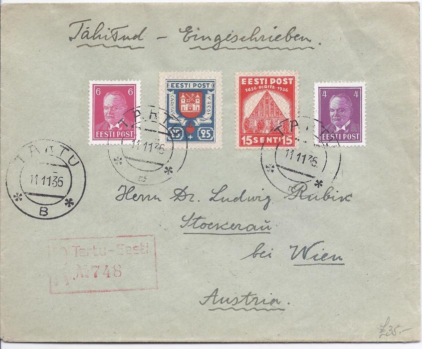 1936 Estonia 1936 registered Tartu to Vienna cover bearing attractive mix of definitive and commemorative stamps, including 1s. on reverse