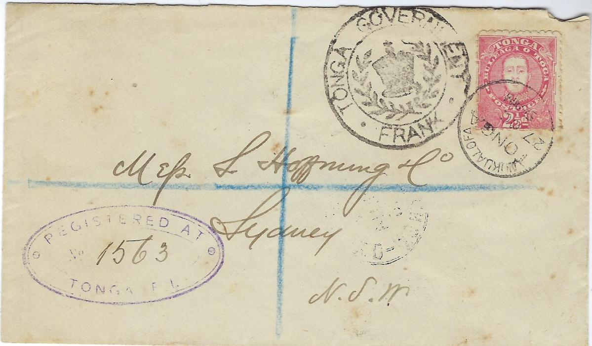 Tonga 1893 (27 Oct) Tonga Government Frank envelope sent registered to Sydney so uprated with 2 12d. King George II tied Nukualofa cds, violet registration handstamp bottom left, reverse with company chopk and arrival cancel.