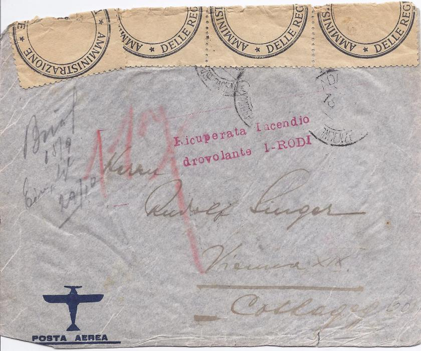 1936 Ethiopia 1936 airmail cover to Vienna, the plane though caught fire and it crashed at Benghazi, Libya. The mail was partly recovered and a two-line cachet applied, Ricuperata Incendio/ drovolante I-RODI, Italian Office sealing tape applied at top, arrival backstamps. Stamps washed off and some slight faults as to be expected.