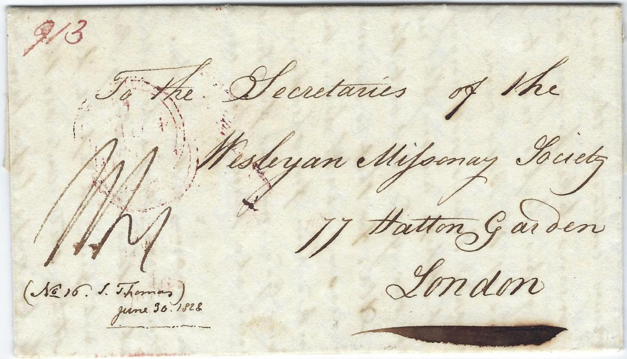 Tonga 1828 long Missionary entire to the Secretaries of the Wesleyan Missionary Society, London, showing on reverse stepped SHIP LETTER/ DOVER applied on entry into England and arrival cds; fine condition.