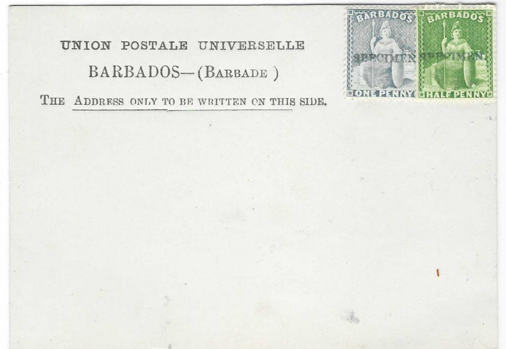 Barbados 1881 Formula Stationery card with 1/2d. and 1d. Britannia applied at right, most unsually both are overprinted SPECIMEN; very fine and rare