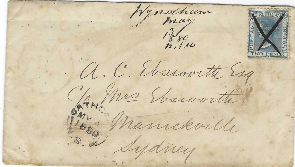 """Australia (New South Wales) 1880 (May 3) 2d. cover to Sydney franked 2d with pen cross, """"Wyndham/ May/3/ 1880/ NSW"""" manuscript alongside. Also a 1882 cover showing the earliest recorded use of the new Wyndham date stamp. Some slight faults but an interesting pair."""