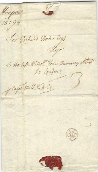 "Barbados 1698 entire to London addressed ""for Richard Bate Esq, To be left with Mr John Burrowes Merch"", arriving on 20th February 1699, 71 days later and marked on the back with the small size Bishop Mark. Endorsed ""p. Capt. Milk Q.D.C."" and rated 3d."