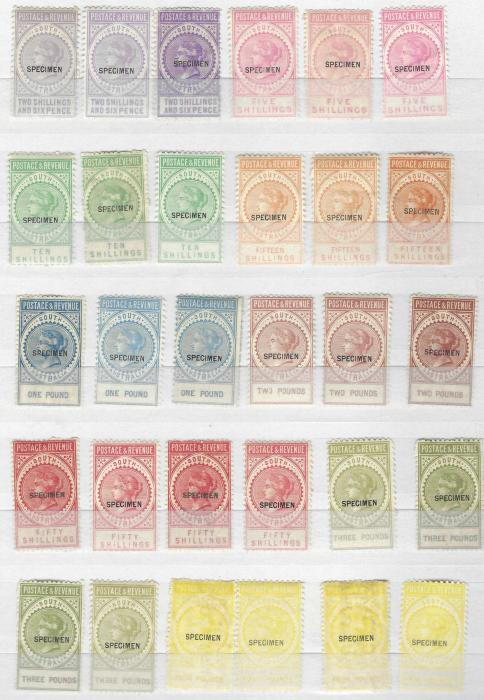 Australia (South Australia) Accumulation of Specimens and Reprints with various Chalons with Reprint overprints, 1880s issues with Specimen overprints and duplicated 1886-94 Postage and Revenues with  one complete set of 14 plus many duplicates to top value, a mixture of upright and sideways watermarks, 1891-93 Surcharges and 1902-04 Postage values to £1 'used'; fair to fine condition.