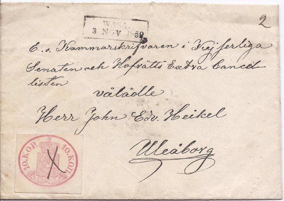 1858 Finland 1858 cover to Uleaborg franked 10 kop. rose on wove paper with pen cross cancel and with at top framed WASA despatch. Stamp with four good to close margins, paying the correct longer distance rate. Cyril Schwenson certificate.