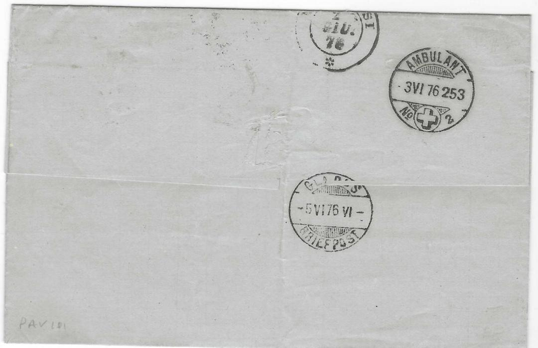 British Levant 1876 outer letter sheet to  Glarus, Switzerland bearing Great Britain 1873-80, Watermark Small Anchor, plate 3, PA cancelled by 'G06' obliterator with British Post Office Beyrout cds in association, unclear Italian transit backstamp together with fine arrival cancels; good clean example.