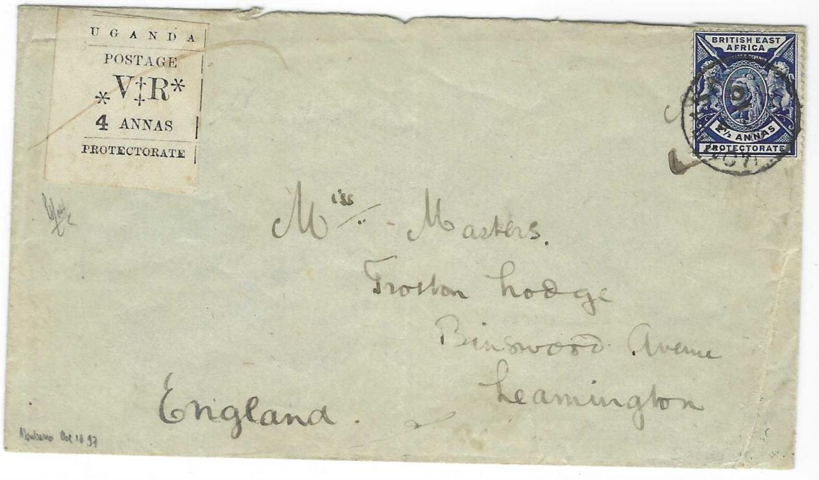 British East Africa Uganda Protectorate 1897 cover to Leamington bearing mixed franking British East Africa 2 ½a. tied Mombasa cds paying the external postage, together with Uganda Protectorate 1896 Typeset 4a black  with red manuscript cancel paying the local postage only, the country not being a member of the U.P.U. at this time. Peter Holcombe Certificate.