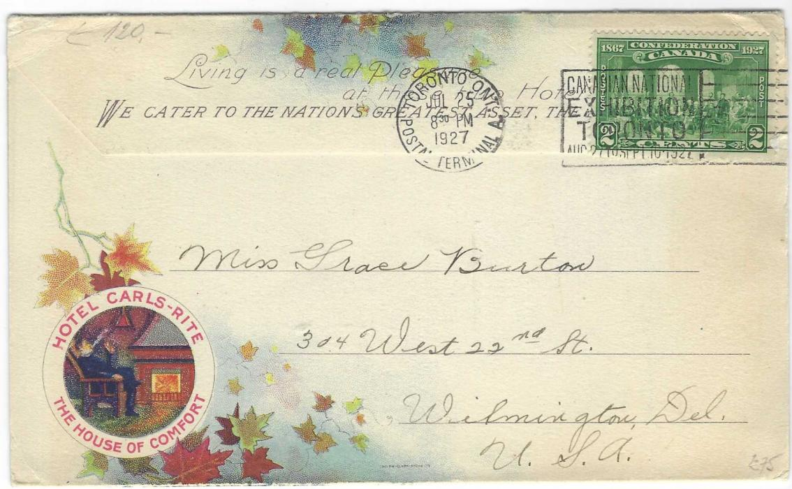 Canada (Hotel Advertising) 1927 Hotel Carls-Rite colour advertising envelope fine used from Toronto to Wilmington, USA