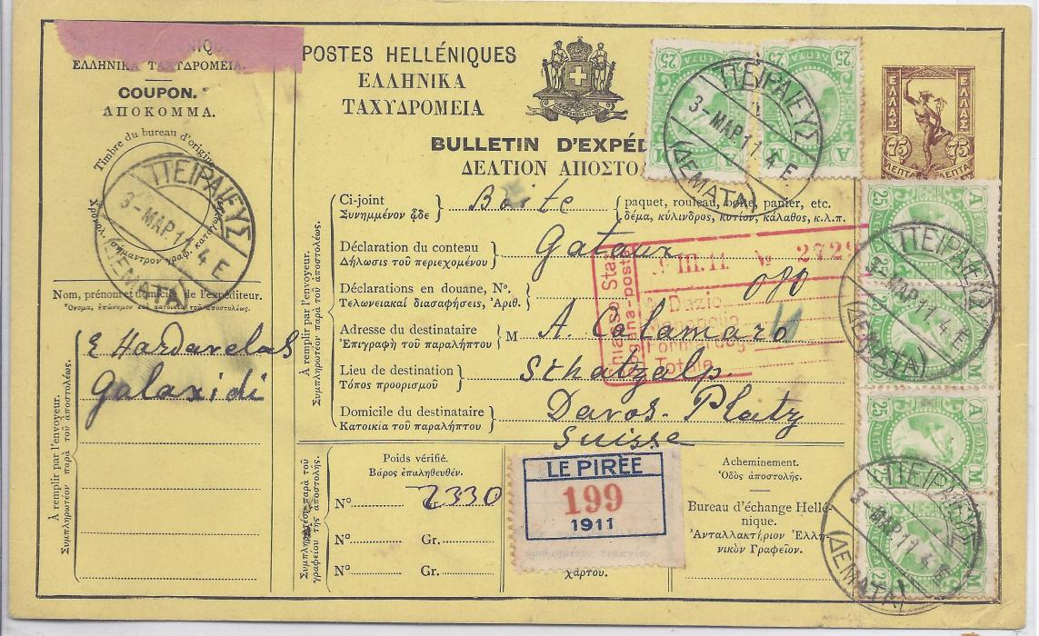 1911 Greece 1911 75L. postal stationery parcel card to Switzerland additionally franked with six 25L. Hermes tied Pireaus cds; very fine and attractive.