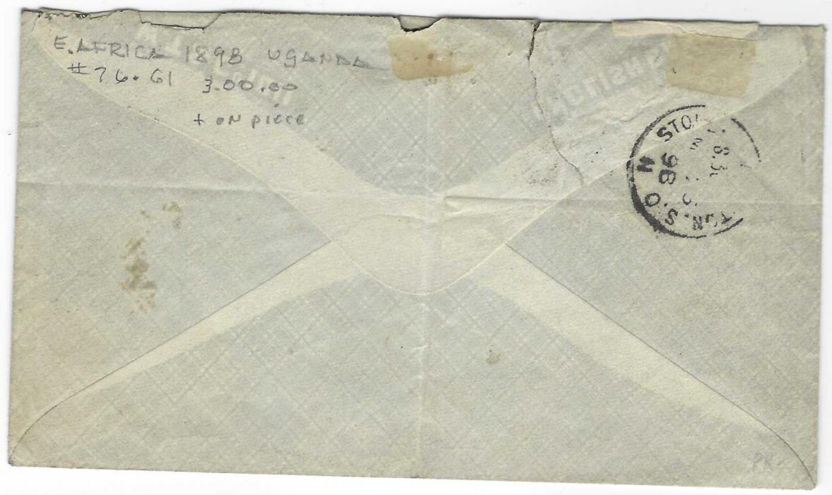 British East Africa (Uganda) 1898 cover to London bearing combination franking British East Africa 2 ½a. tied square circle paying the external postage, together with Uganda Protectorate 1896 Typeset 1a , thin 1 (SG 54) with blue manuscript cancel paying the local postage only, the country not being a member of the U.P.U. at this time. Central vertical crease and some slight faults to envelope; scarce on cover.