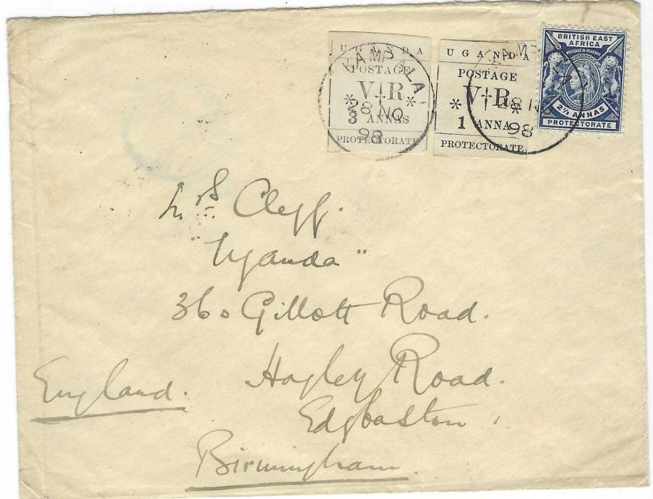 British East Africa (Uganda) 1898 (28 NO) cover to Birmingham bearing combination franking British East Africa 2 ½a.  together with 1a. and 3a. Uganda Protectorate Typeset issues (SG 55 and 57) all tied by two good early strikes of Kampala cds