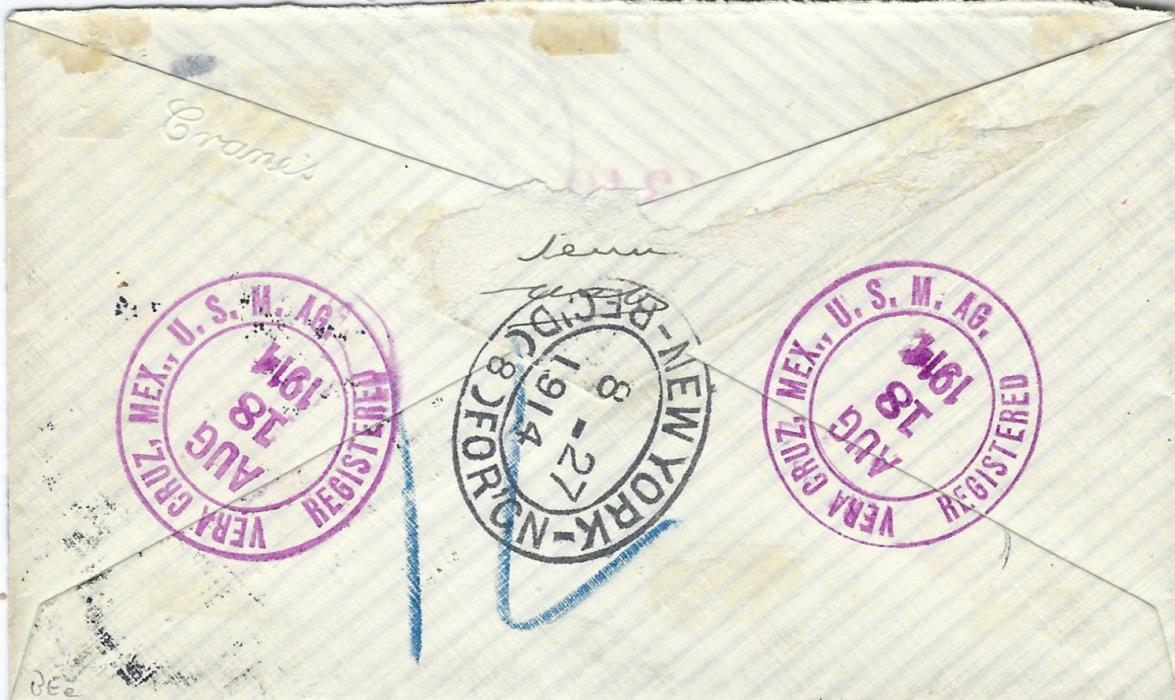 United States (Mexico) 1914 AR registered cover to Manchester, England bearing single franking 12c. Franklin tied Veracruz. Mex. cds, violet registration handstamp to left, reverse with Vera Cruz cds in same ink and New York transit; missing backflap and some light toning, showing generally good quality cancels.