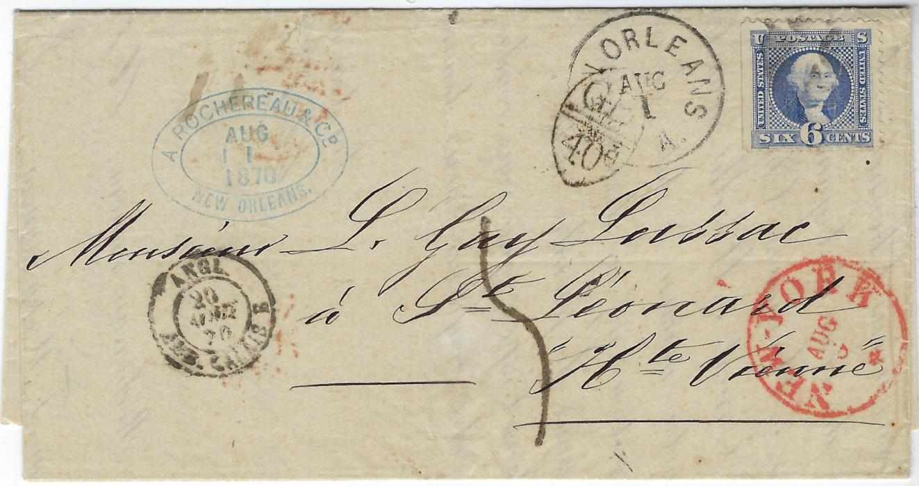 United States 1870 entire to France bearing single franking 6c 'Washington' tied segmented cork handstamp, New Orleans despatch cds to left oversturck with oval framed accountancy 'GB/40c', New York transit bottom right and French entry cds from England at left, reverse with arrival backstamps; fine and attractive.