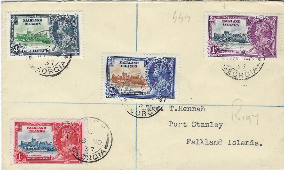 "Falkland Islands 1937 registered  cover bearing Silver Jubilee set of four tied South Georgia cds, Port Stanley arrival backstamp. The 1/- stamp shows variety ""short extra flagstaff"". Good condition."