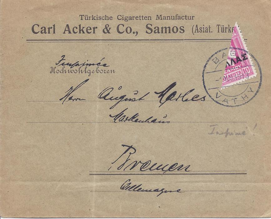 1918 Samos 1918 cover to Bremen, franked bisected 10 lepta to make 5l. printed paper rate and tied Vathy bilingual date stamp.