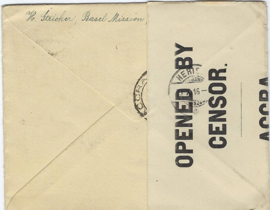 Gold Coast (Postal Stationery) 1916 1d. envelope to Herisau, Switzerland uprated with horizontal strip of three ½d. tied Akropong cds, Dodowa transit cds to left showing inverted year, Accra transit backstamp that has been overlaid with the censor tape which is itself cancelled with arrival cds.