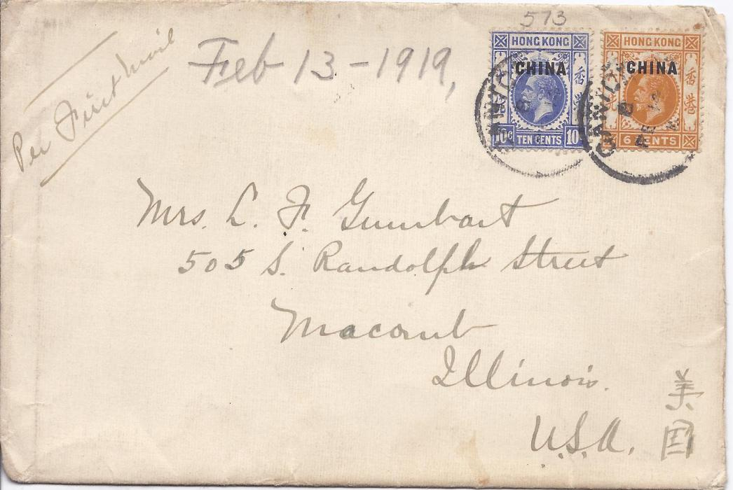 "Hong Kong British Post Offices in China 1919 (FE 14) cover to United States endorsed ""By First Mail"" and bearing 6c. and 10c. paying double rate, tied Canton index B cds. Reverse with Hong kong transit of next day."