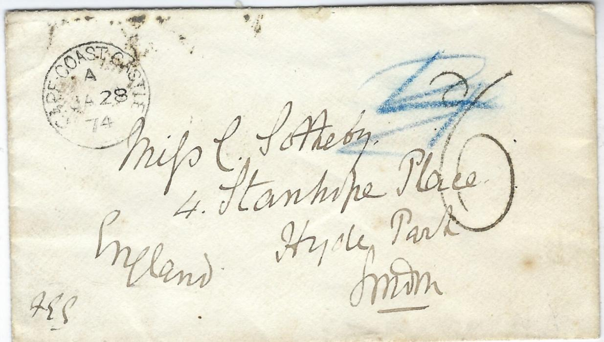 "Gold Coast 1874 (JA 28) pre-stamp cover to Hyde Park, London bearing good strike of Cape Coast Castle cds, manuscript ""4"" and handstamped '6' rate marks, reverse with Liverpool  transit and London arrival."