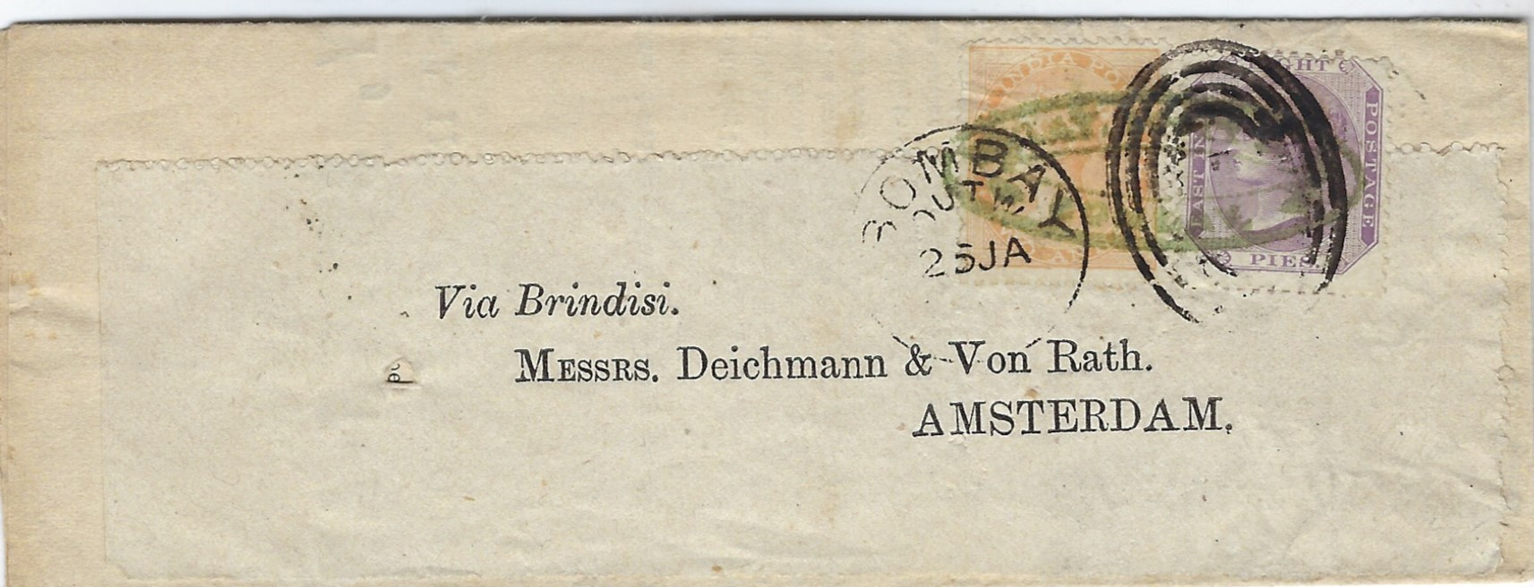 India 1874 'Finlay, Scott and Co's/ East India Price Current' folded printed document  from Bombay to Amsterdam, endorsed 'Via Brindisi', franked 1860 8p. and 1865 watermarked 2a yellow tied Bombay/Outw duplex and by sender's chop, reverse with black PD and unusually with arrival cds.