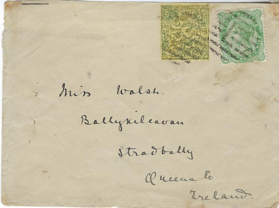 India (Jammu and Kashmir) 1887 cover to Stradbally, Ireland franked India 1862-90 4a6p in combination with Jammu and Kashmir 1a. dull green both cancelled by 'L' obliterators, reverse with Kashmir cds, Bombay transit and part arrival partly lost with backflap.