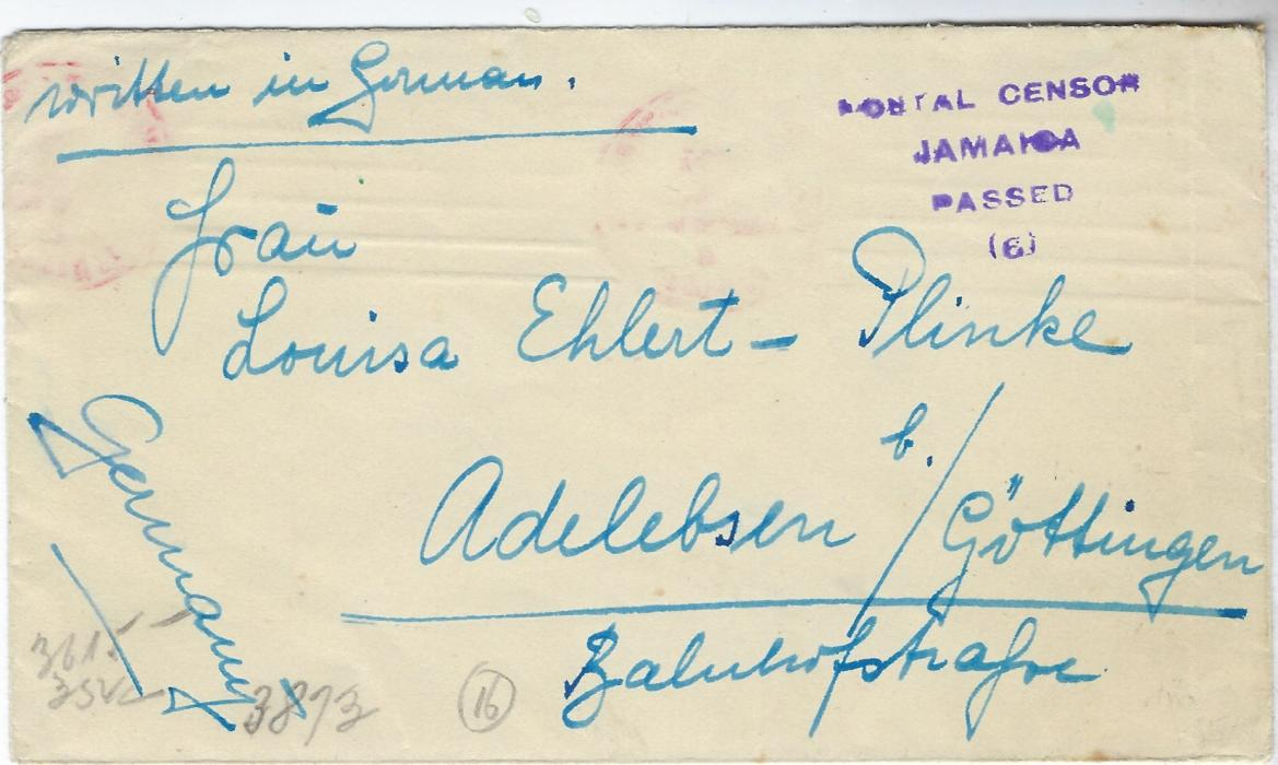 Jamaica Undated circa 1940 P.O.W. cover to Germany bearing four-line violet Postal Censor/ Jamaica/ Passed/ (6) handstamp and German censor cachet and tape on reverse; fine condition