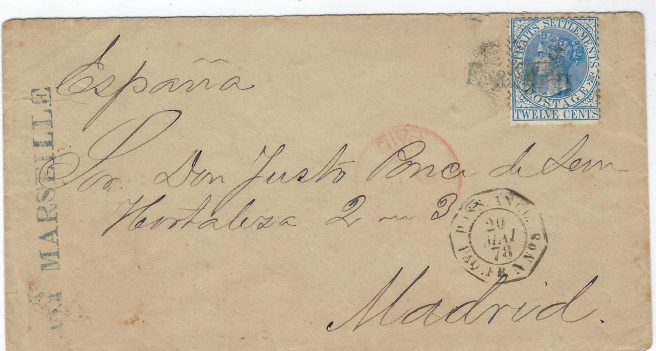 Malaya (Straits Settlements) 1878 cover to Madrid bearing single franking 12c. blue tied by blue company initials, the full name of company on chop on reverse, also tied by a smudged cork, endorsed 'VIA MARSEILLE'  at left, red Singapore Paid cds front and back, French maritime 'Poss. Angl. Paq. Fr. N No8, reverse with French tpo transits and arrival cds.