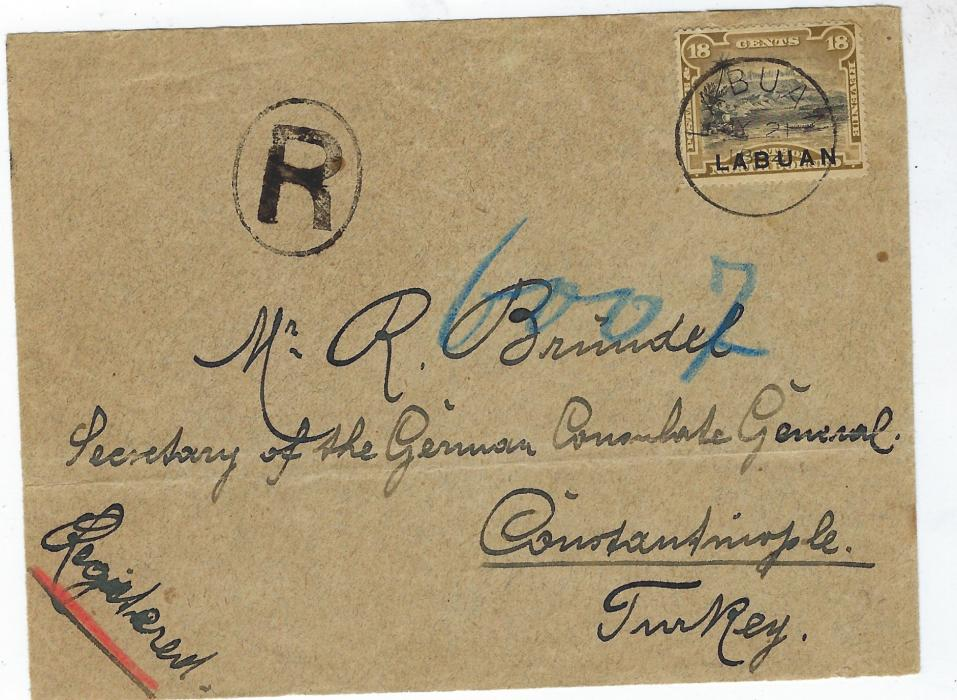 "North Borneo (Labuan) 1894 (JY 21) registered cover to ""Secretary of the German Consulate General"" , Constantinople, Turkey bearing single franking 18c. 'Mount Kinabalu' tied Labuan cds, oval framed 'R' and blue manuscript number, reverse with Napoli transit and arrival backstamp of Austrian Post Office."