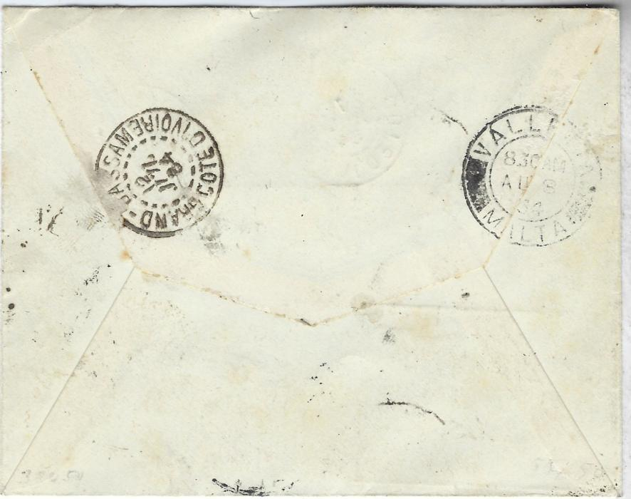 Malta 1934 incoming cover from Assinie, Ivory Coast underfranked  with 5c. and  45c., triangular framed �T� , a 1�d. and 2�d. postage dues applied and tied Valetta cds which is repeated on reverse.
