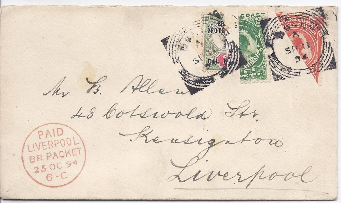 Niger Coast 1894 (SP 11) cover to Liverpool bearing three different bisects with 1892 2d. Jubilee issue vertical bisect, 1894 2d. vertical bisect and 1d. diagonal bisect, all tied Bonny square circle date stamps, red Liverpool transit bottom left. (SG. 3a, 47b and 52b.). Fine and attractive, rare three bisect cover paying 2 1/2d. rate.