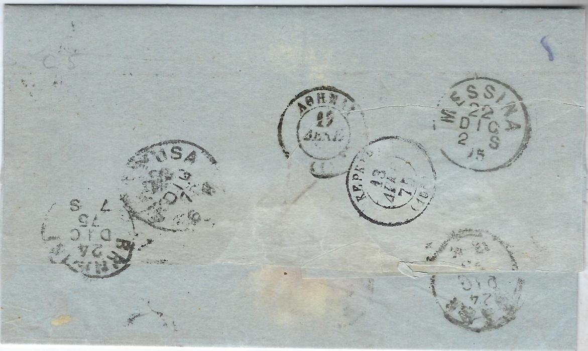 "Malta 1875 (DE 21) entire to Athens endorsed ""Via Syra"", despatch cds at top right, black 'T' applied, '60' accountancy handstamp, reverse with transits of Siracusa, Messina,  Brindisi and Bari of 22nd and 24th , Syra transit and arrival cancels in Julian calendar; fine and clean condition."